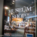 Photo of entrance to a Museum Store that sells Jim Gibson's piano CDs